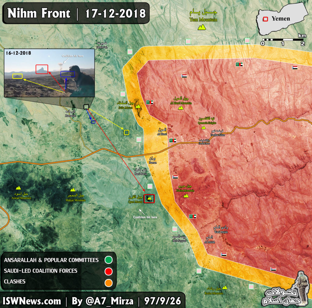 Yemen Map Update: Saudi-led Coalition Continues Attempts To Advance On Nihm Front