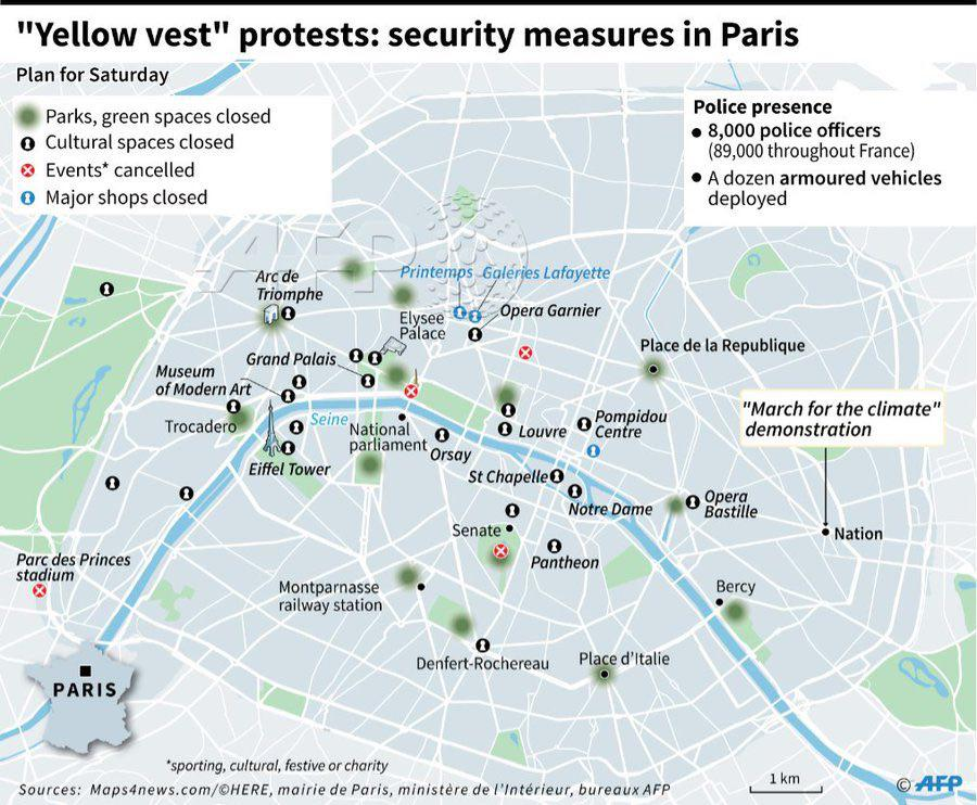 In Map: 'Security Measures' Of Macron Government To Crack Down On 'Yellow Vest' Protests