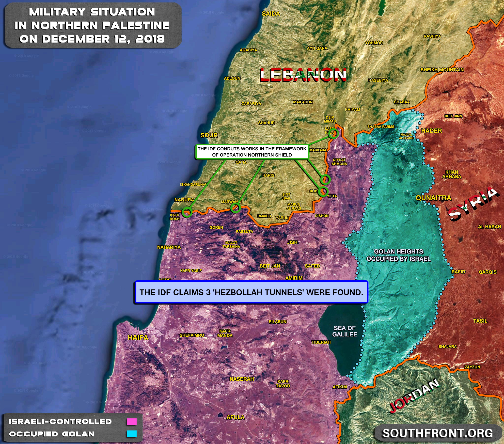 3 'Hezbollah Tunnels' Found Since Start Of Israel's Operation Northern Shield (Map Update)