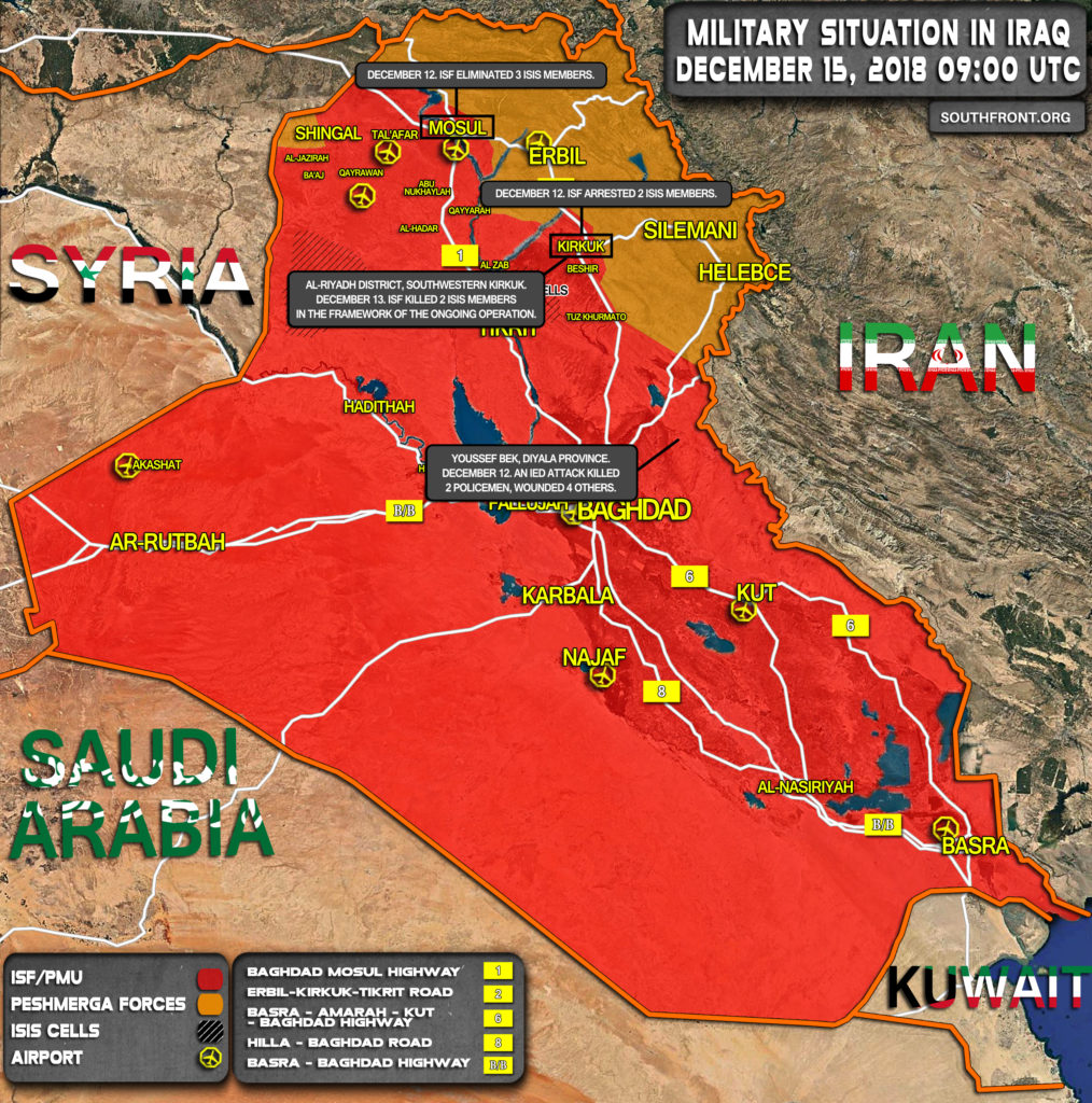 Map Update: Iraqi Security Forces Continue Operations Against ISIS Cells