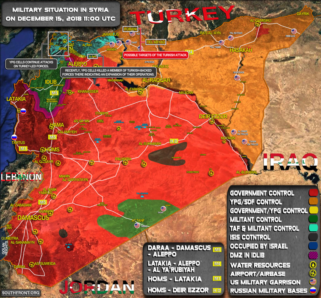 Military Situation In Syria On December 15, 2018 (Map Update)