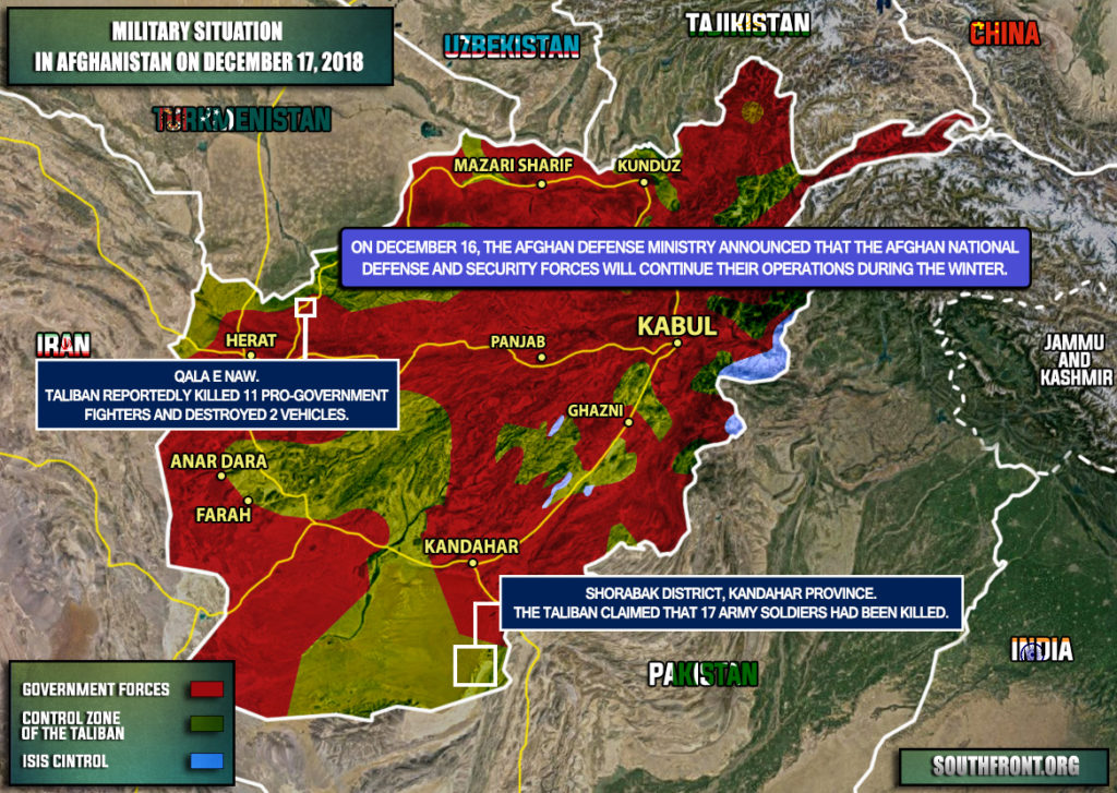 Afghan Defense Ministry Vows To Continue Operations Against Taliban During Winter Period (Map Update)