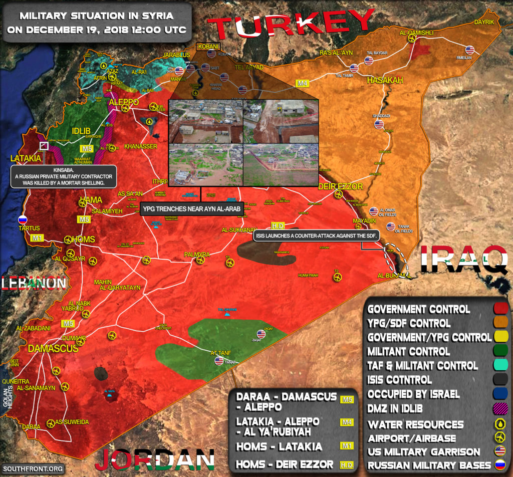 Military Situation In Syria On December 19, 2018 (Map Update)