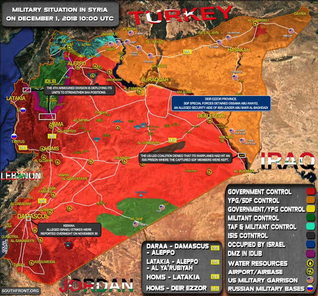 Brief Look At Military Situation In Syria On December 1, 2018 (Map Update)