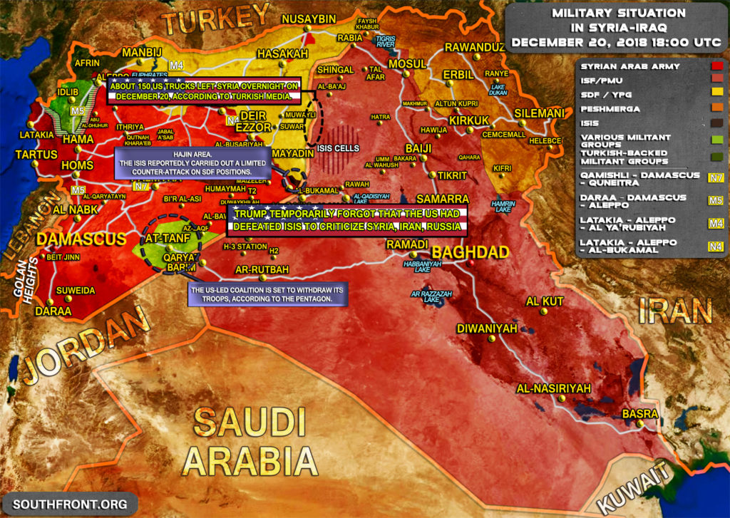 Military Situation In Syria And Iraq On December 20, 2018 (Map Update)