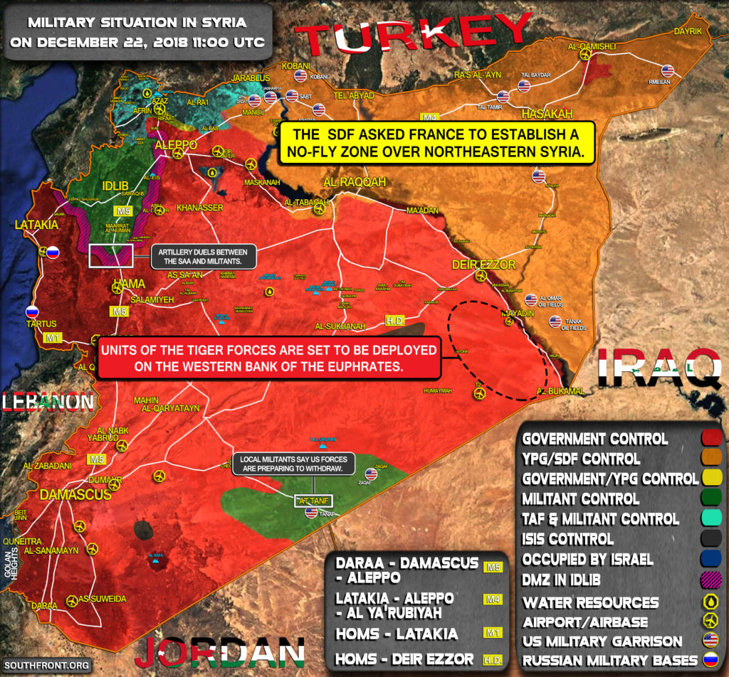 Military Situation In Syria On December 22, 2018 (Map Update)