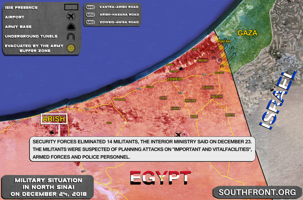 Security Forces Eliminate 14 Militants In Egypt's North Sinai (Map)