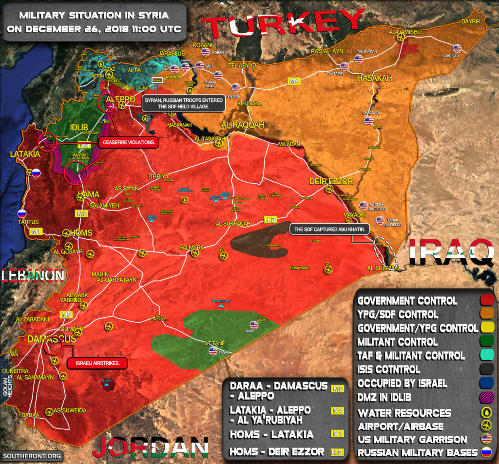 Military Situation In Syria On December 26, 2018 (Map Update)