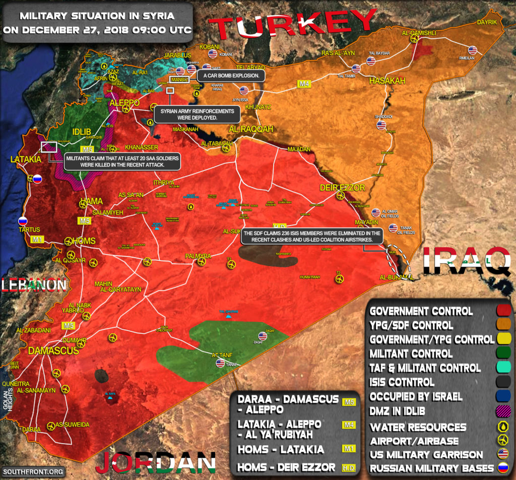 Military Situation In Syria On December 27, 2018 (Map Update)
