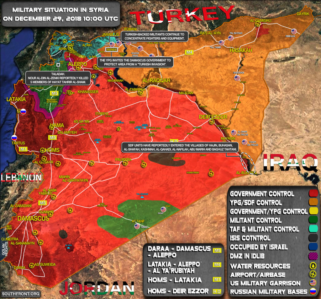 Military Situation In Syria On December 29, 2018 (Map Update)