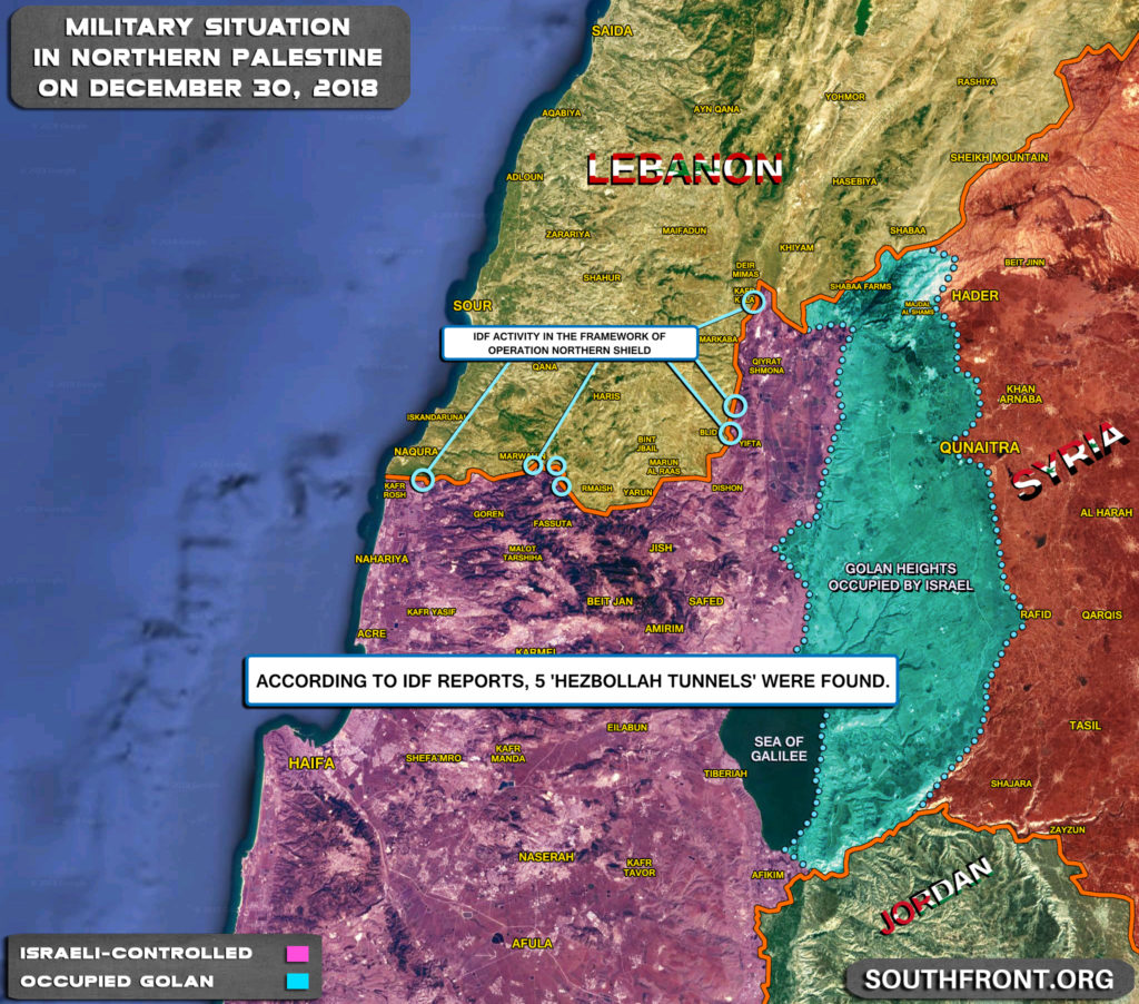 Map Update: Israeli Miltiary Actions In Framework Of Operation Northern Shield
