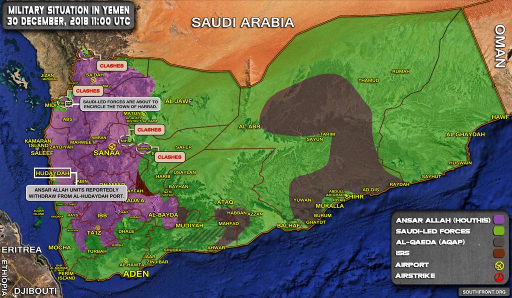 Military Situation In Yemen On December 30, 2018 (Map Update)