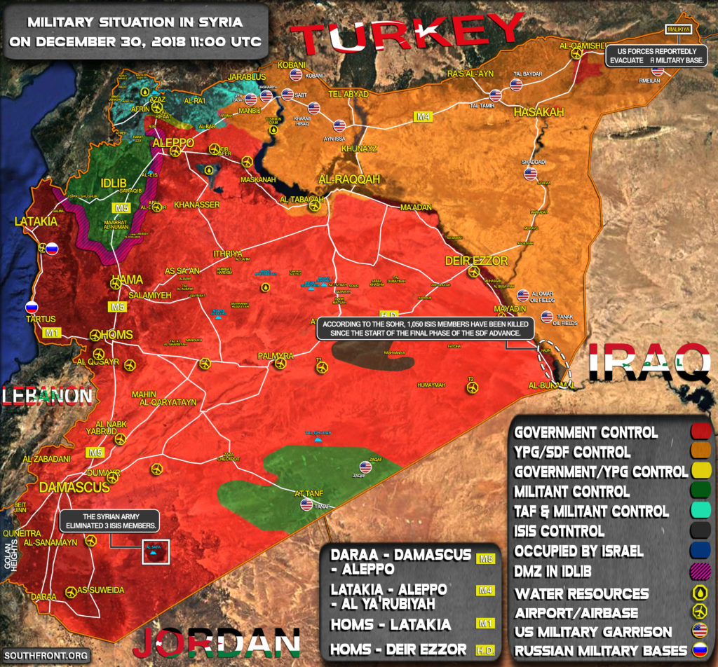 Military Situation In Syria On December 30, 2018 (Map Update)