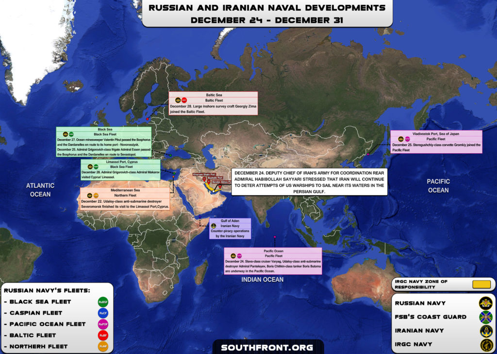Iranian, Russian Naval Developments December 24 – 31, 2018 (Map Update)