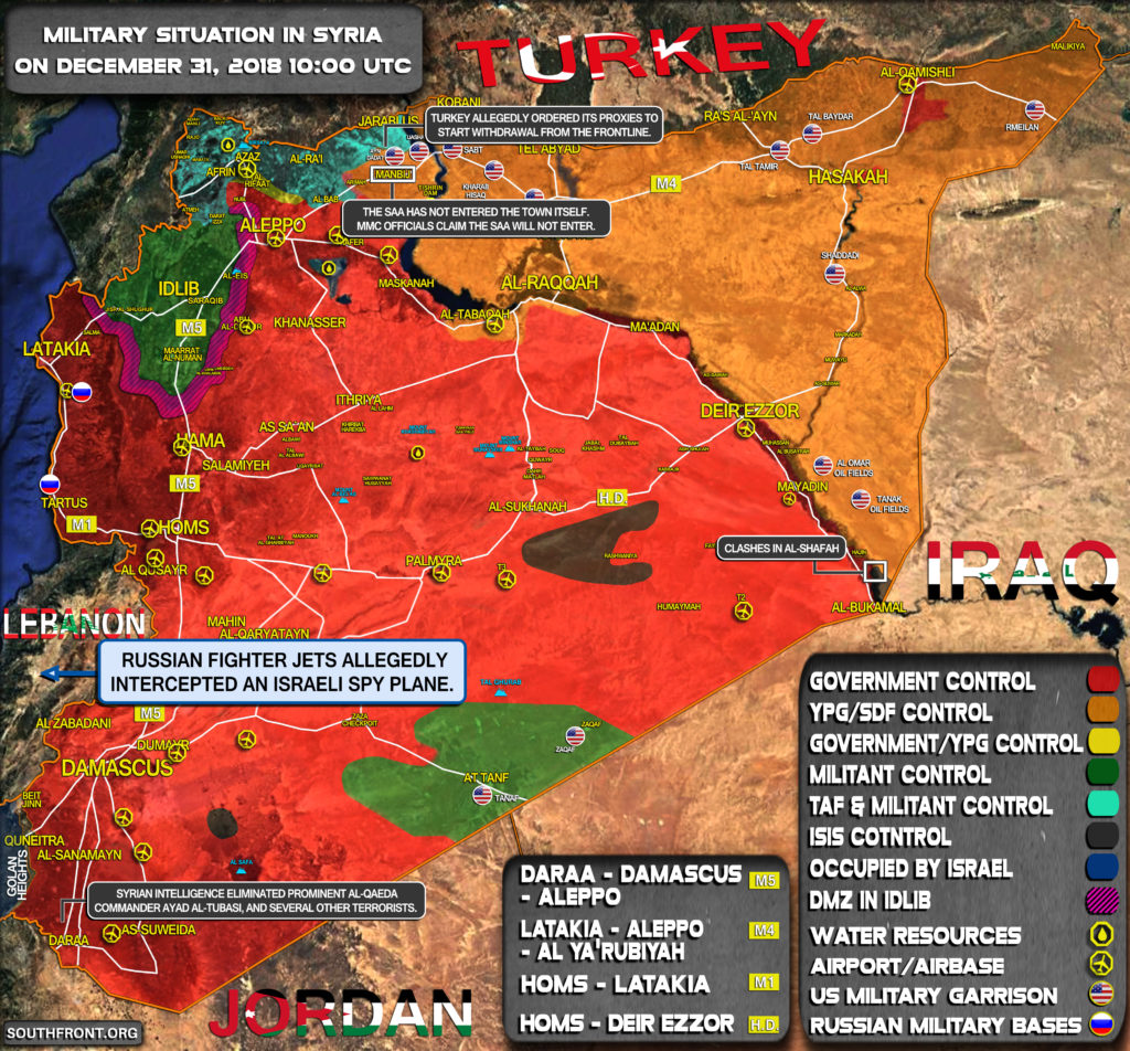 Military Situation In Syria On December 31, 2018 (Map Update)