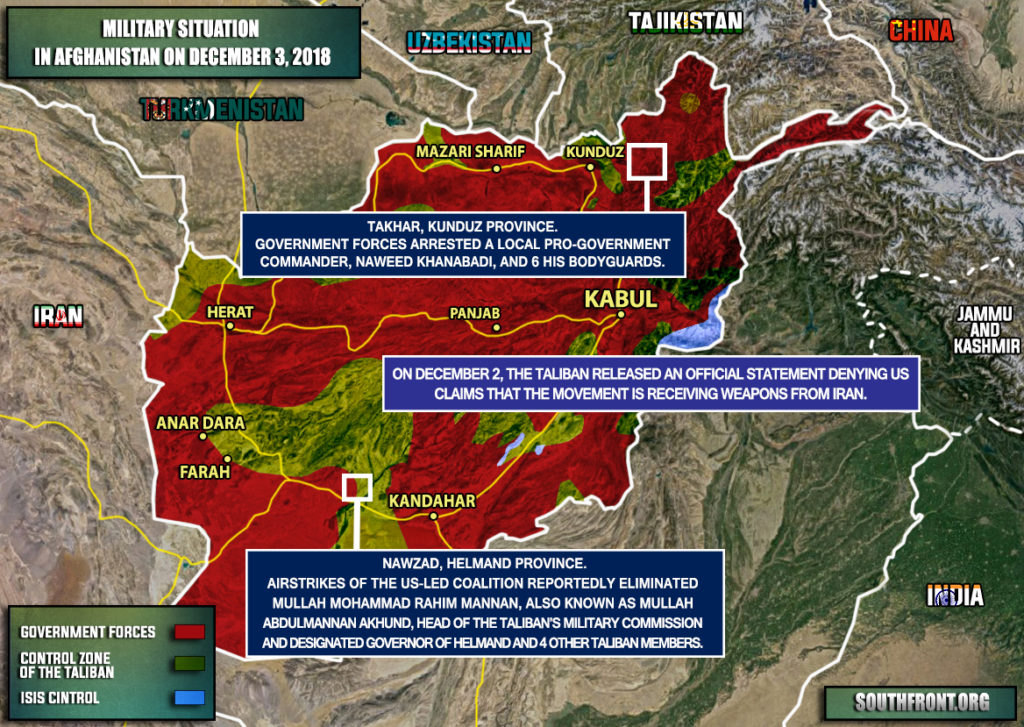 Military Situation In Afghanistan On December 3, 2018 (Map Update)