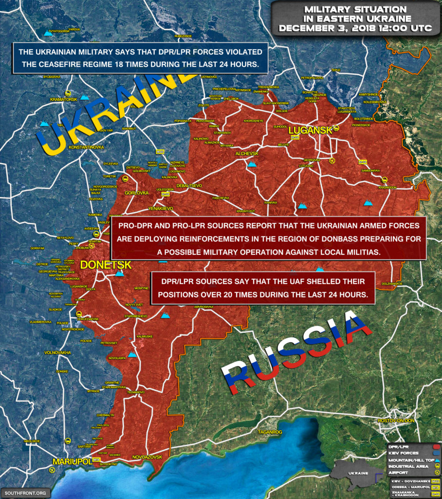 Military Situation In Eastern Ukraine On December 3, 2018 (Map Update)