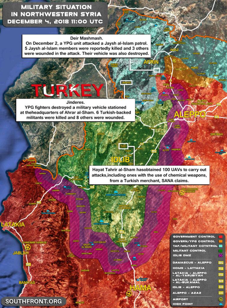 Hayat Tahrir al-Sham Obtained 100 UAVs From Turkey To Use Them In Chemical Attacks: SANA
