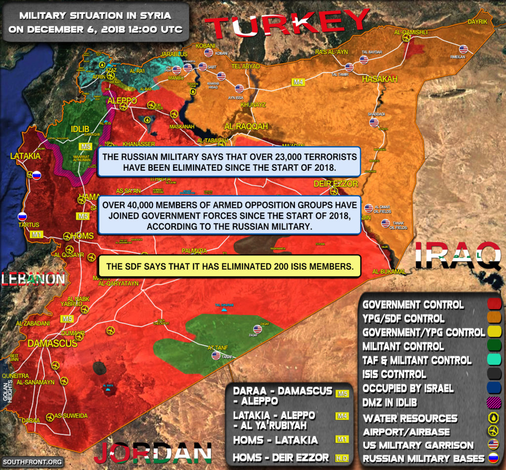 Vojenská Situácia V Sýrii 6. Decembra, Roku 2018 (Aktualizácia Máp)