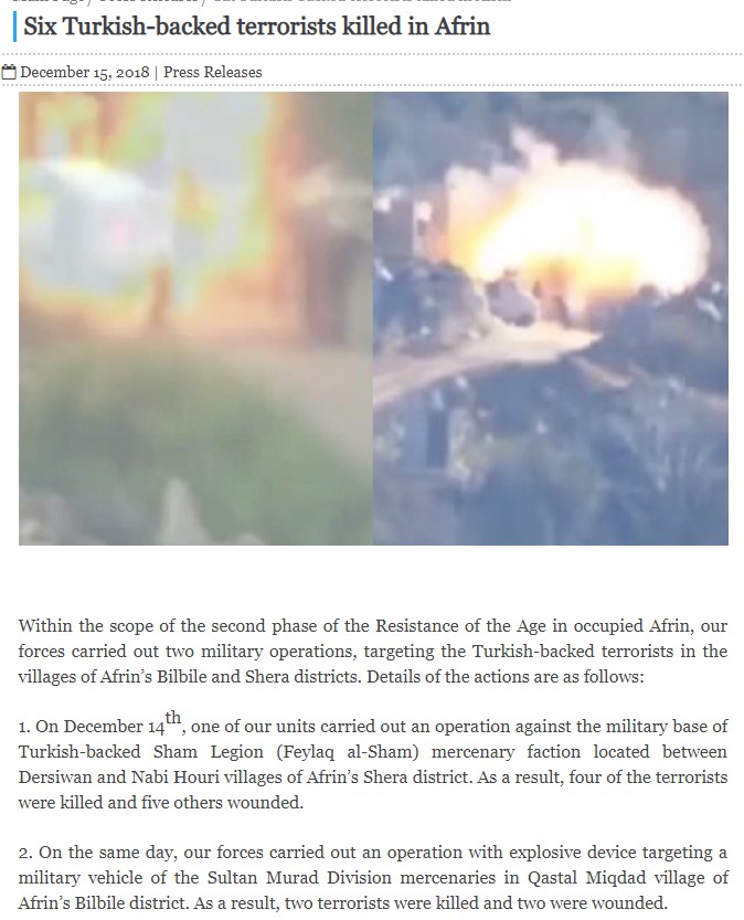 YPG Posts Old FSA Videos Pretending That They Show YPG Attacks On Turkey-led Forces In Syria's Afrin