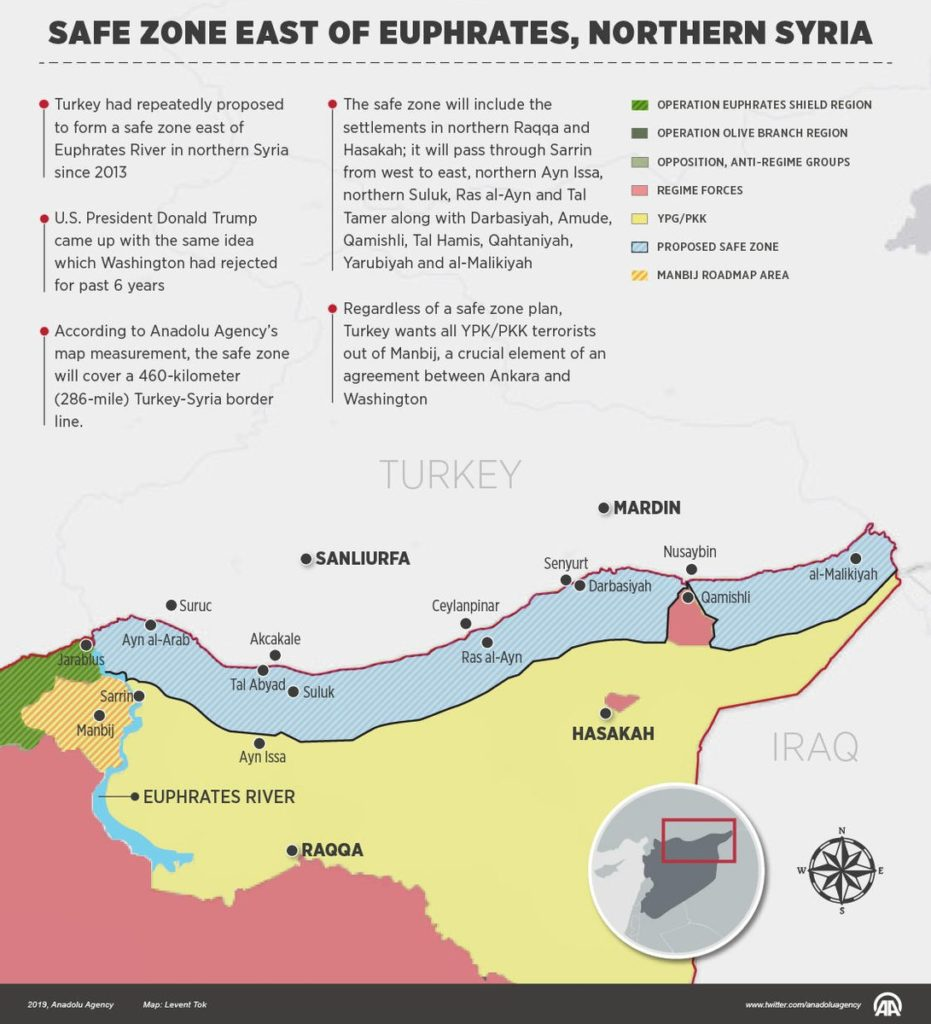 Map: Turkish-proposed Safe Zone East Of Euphrates In Northern Syria