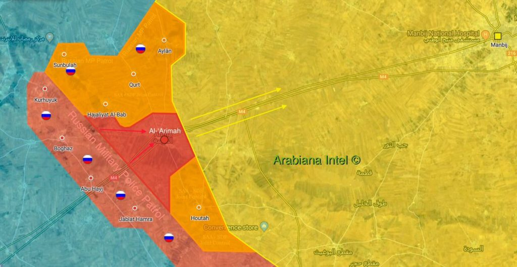 Map Update: Areas Controlled By Syrian Army, Russian Military Police Near Manbij