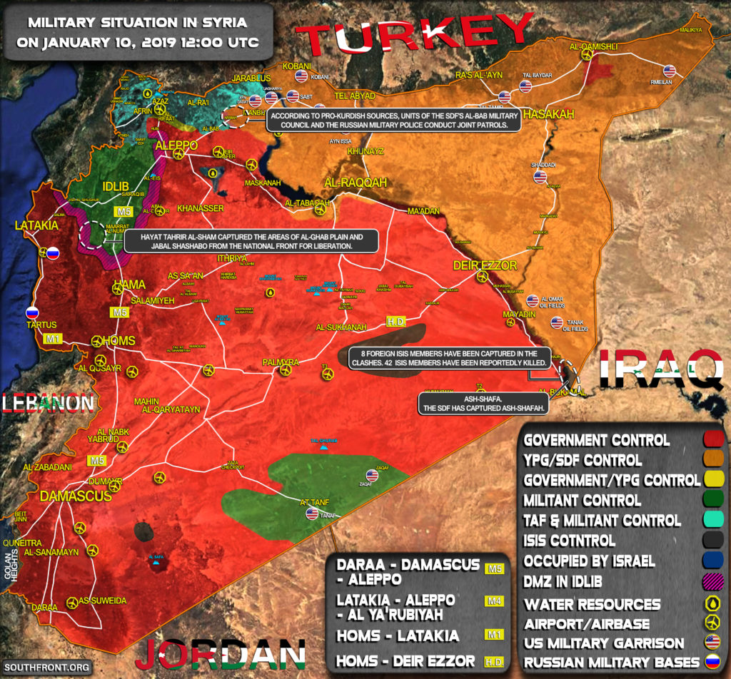 Military Situation In Syria On January 10, 2019 (Map Update)