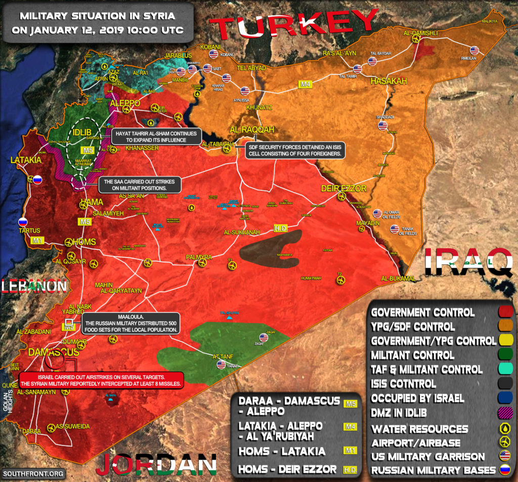 Military Situation In Syria On January 12, 2019 (Map Update)