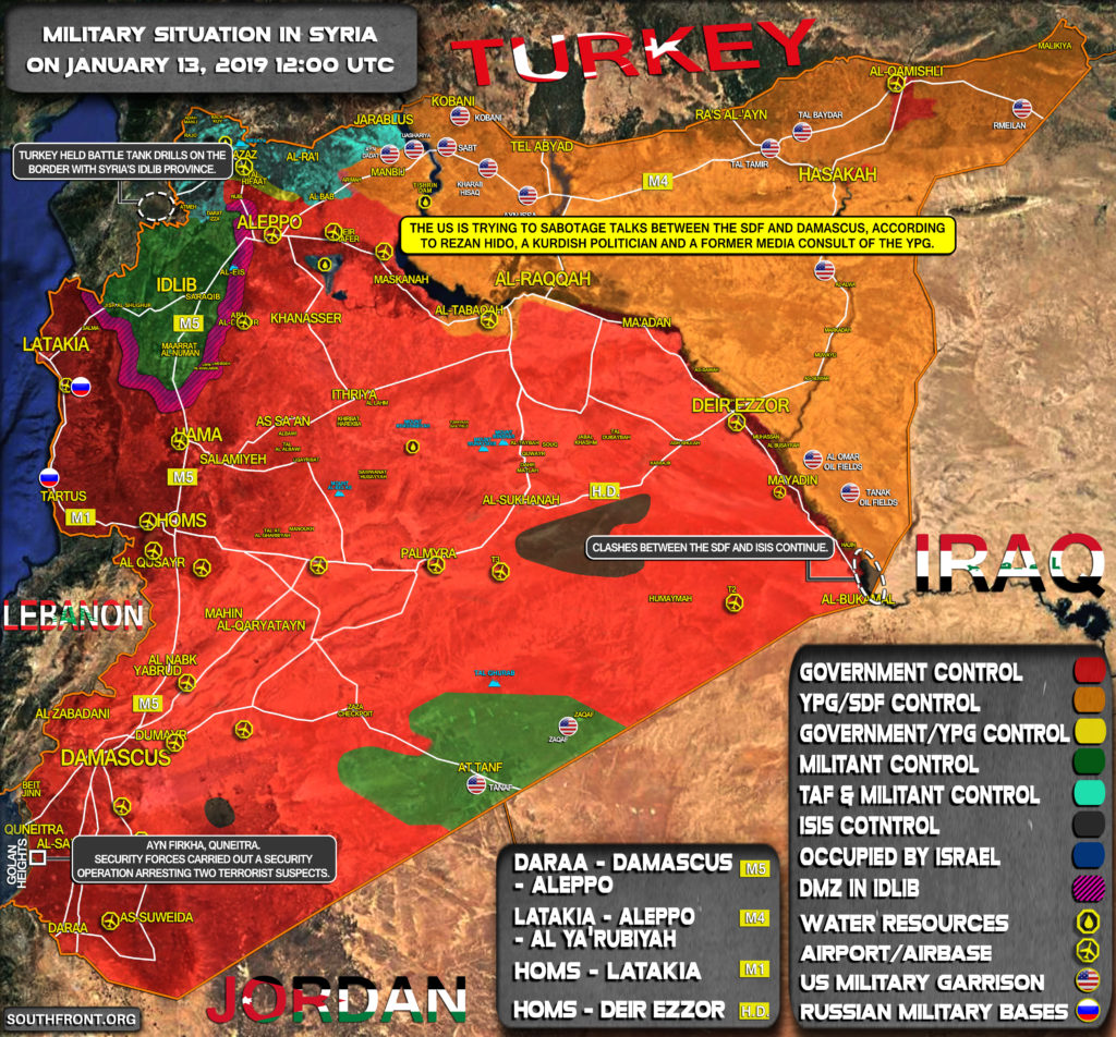 Military Situation In Syria On January 13, 2019 (Map Update)
