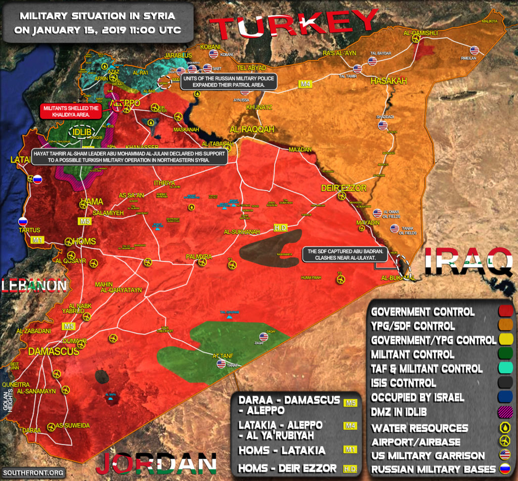 Military Situation In Syria On January 15, 2019 (Map Update)