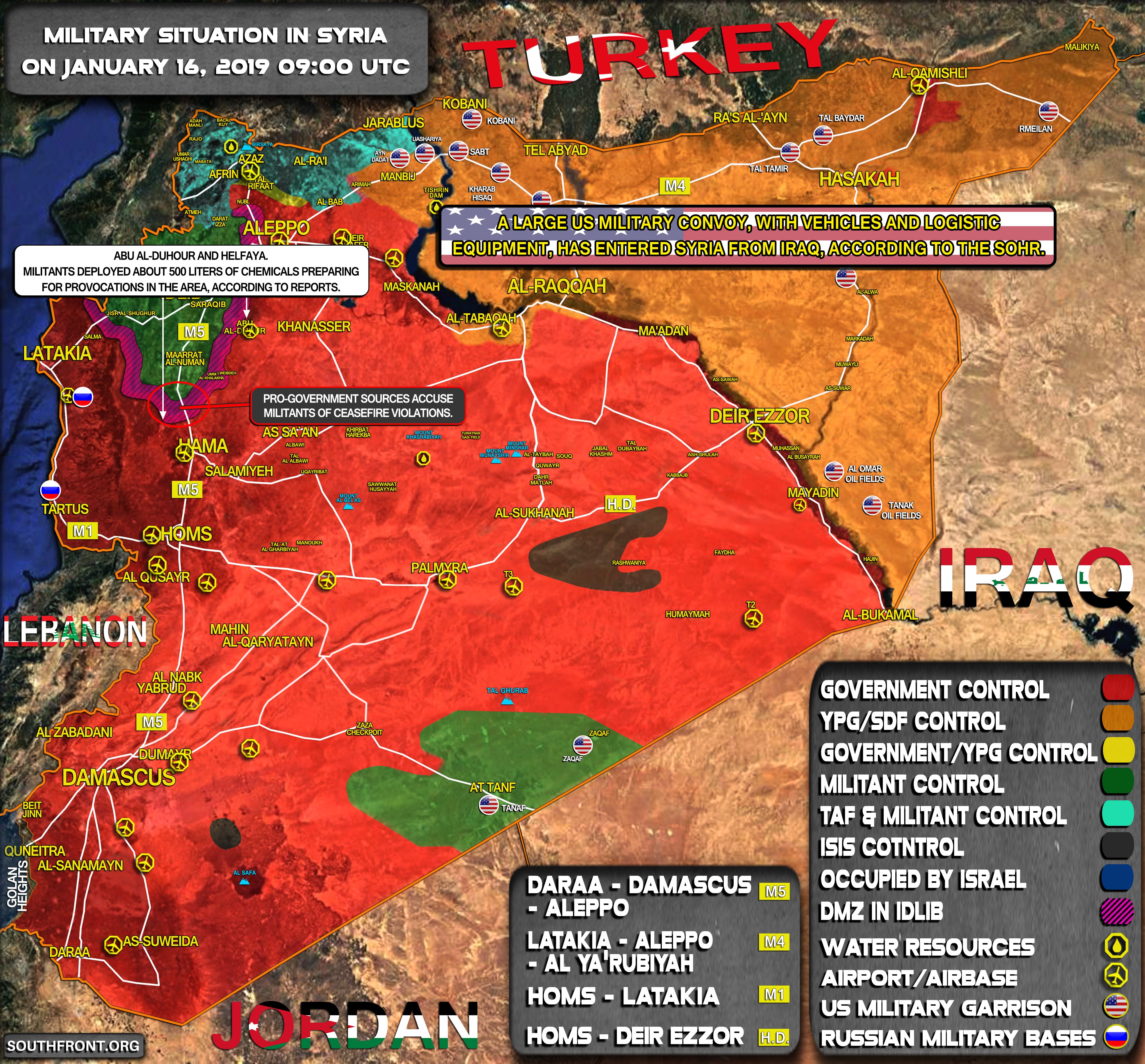 Military Situation In Syria On January 16, 2019 (Map Update)