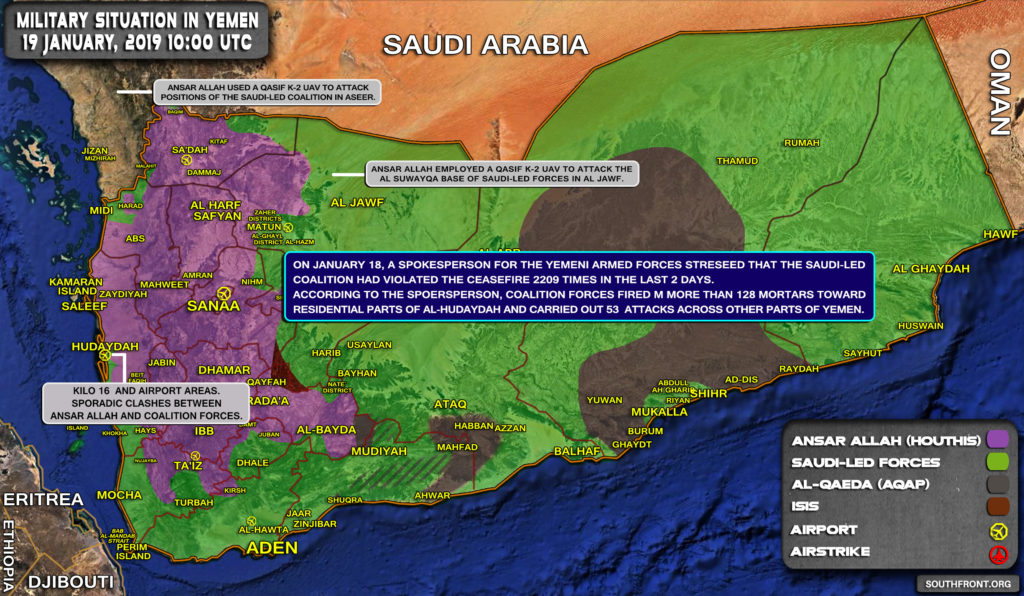Military Situation In Yemen On January 19, 2019 (Map Update)