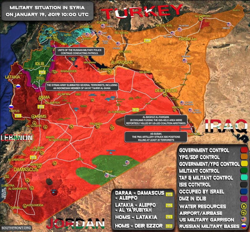 Vojenská Situácia V Sýrii Na Január 19, 2019 (Aktualizácia Máp)