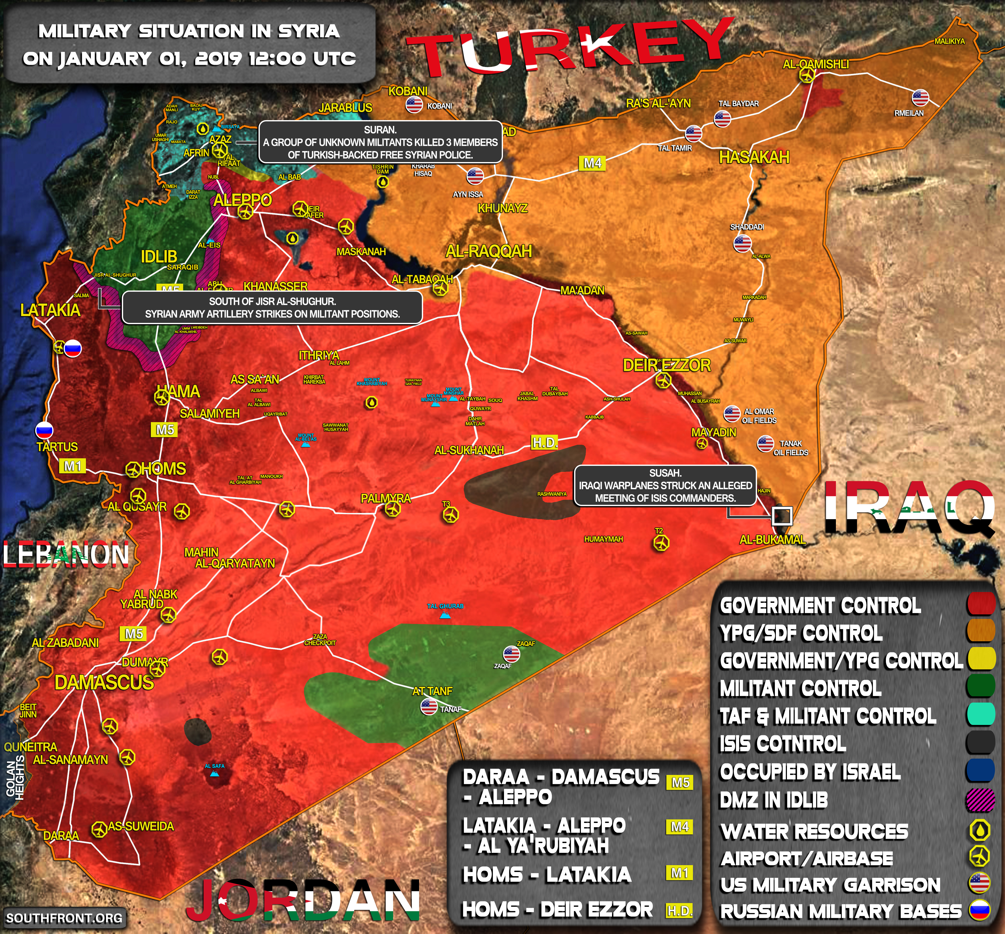Military Situation In Syria On January 1, 2019 (Map Update)