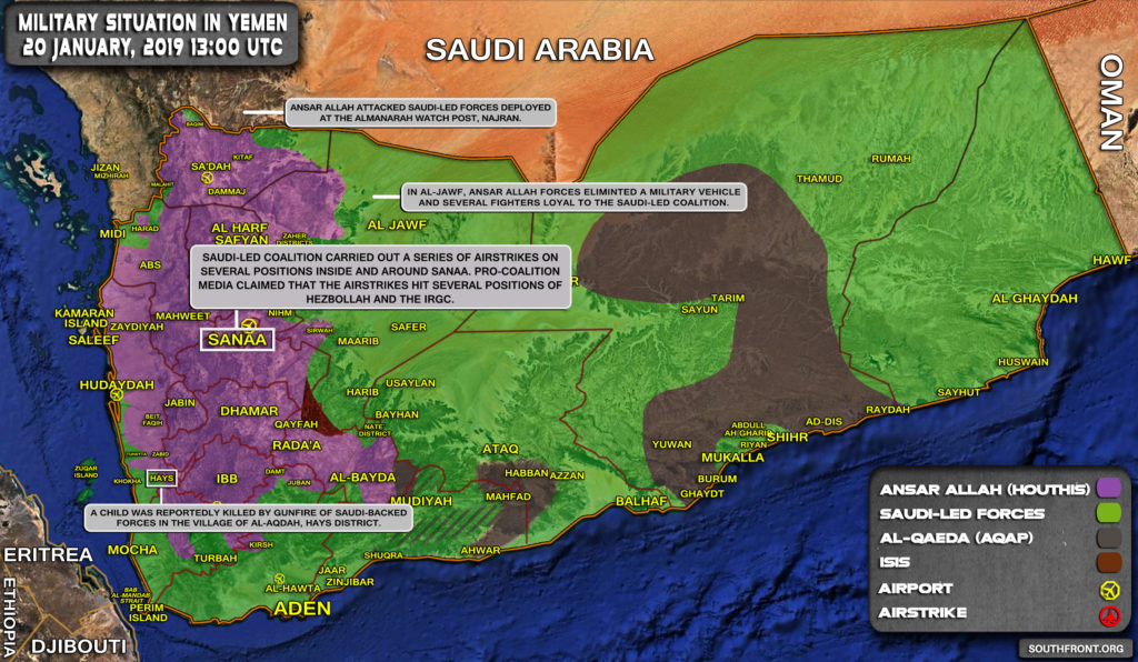 Military Situation In Yemen On January 20, 2019 (Map Update)
