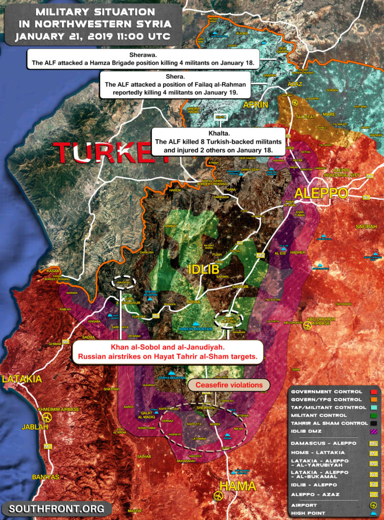 Military Situation In Northwestern Syria On January 21, 2019 (Map Update)