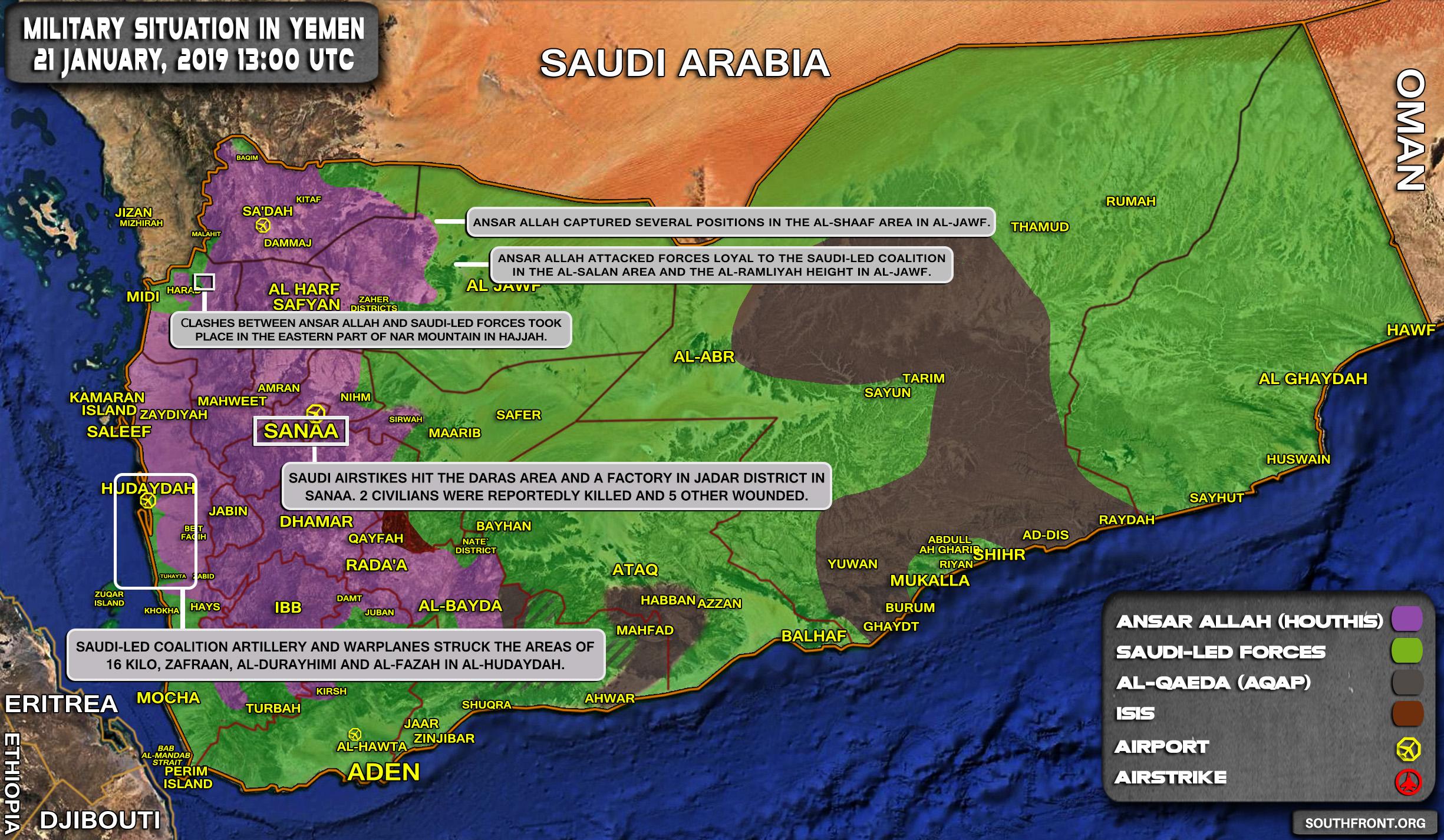 Military Situation In Yemen On January 21, 2019 (Map Update) on eritrea map, oman map, kenya map, zimbabwe map, burma map, malawi map, madagascar map, united arab emirates map, syria map, senegal map, asia map, egypt map, qatar map, algeria map, mali map, niger map, iraq map, israel map, middle east map, burundi map, north africa map, namibia map, somalia map, nepal map, sudan map, mozambique map, hungary map, persian gulf map, liberia map, angola map, morocco map, cameroon map, rwanda map, libya map, tunisia map, saudi arabia map,