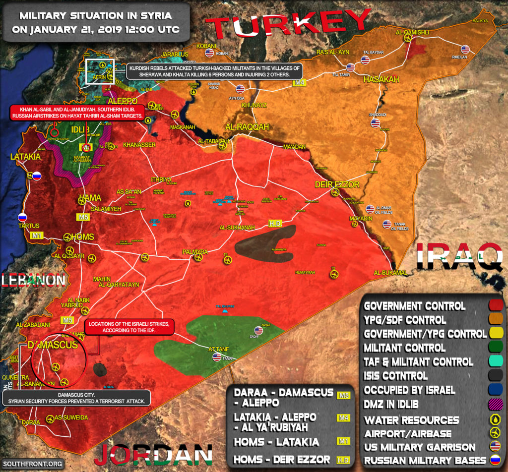 Military Situation In Syria On January 21, 2019 (Map Update)