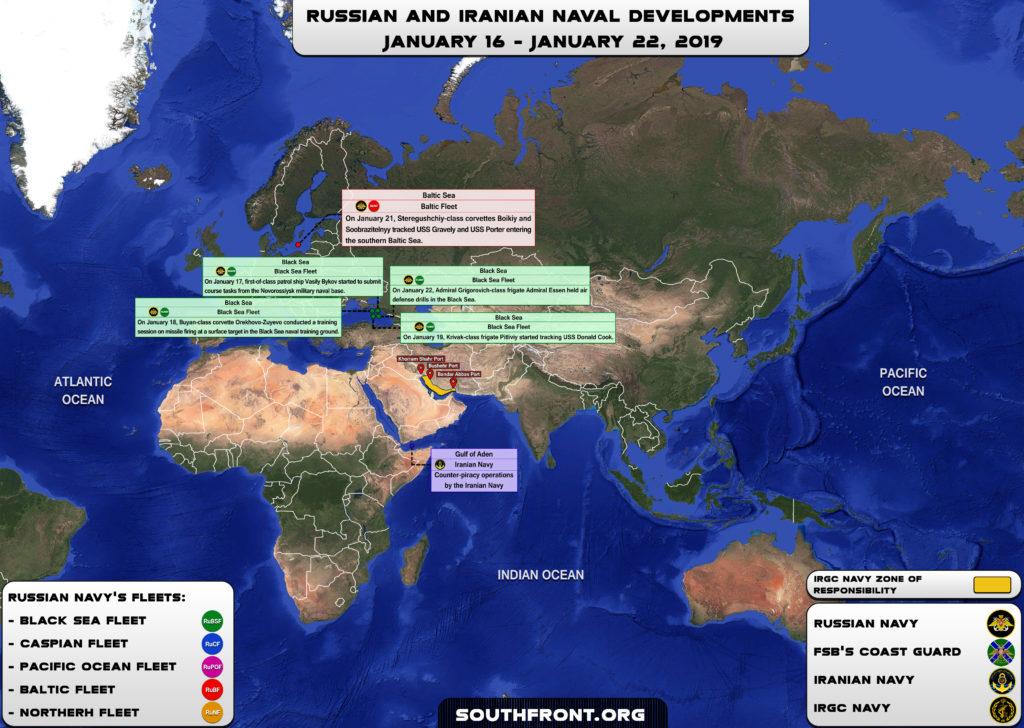 Iranian, Russian Naval Developments January 16-22, 2019 (Map Update)