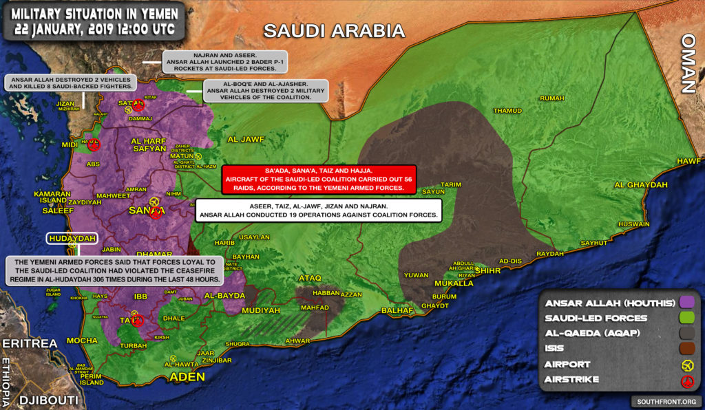 Military Situation In Yemen On January 22, 2019 (Map Update)