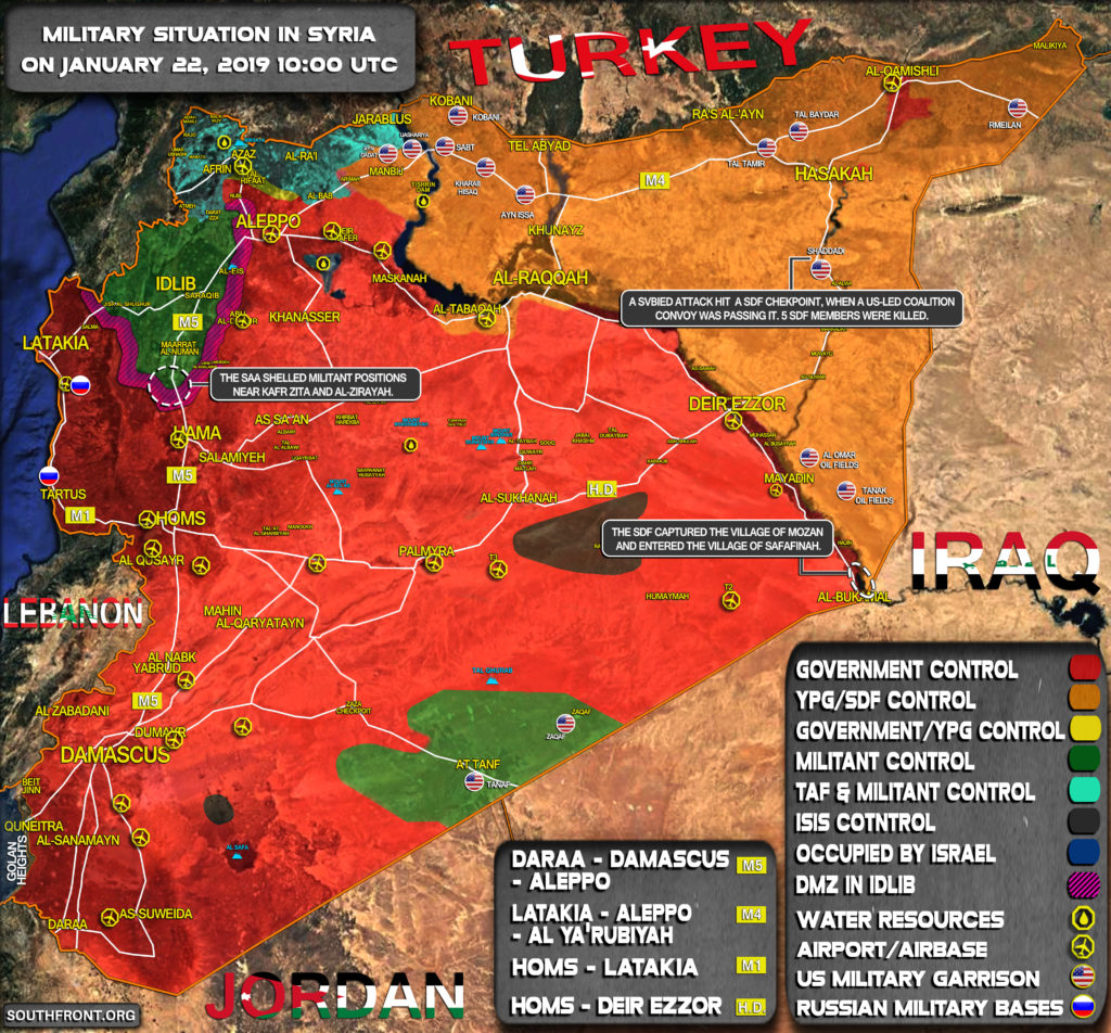 Military Situation In Syria On January 22, 2019 (Map Update)