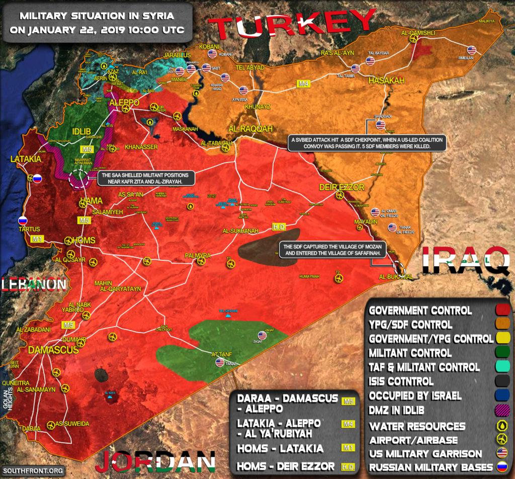 Vojenská Situácia V Sýrii Na 22. Januára 2019 (Aktualizácia Máp)