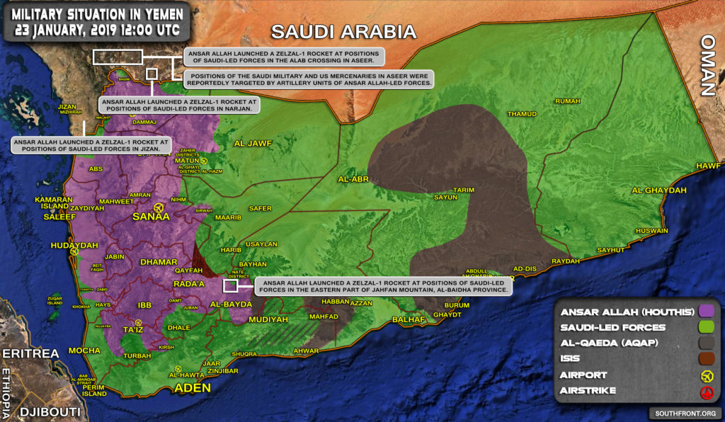 Military Situation In Yemen On January 23, 2019 (Map Update)
