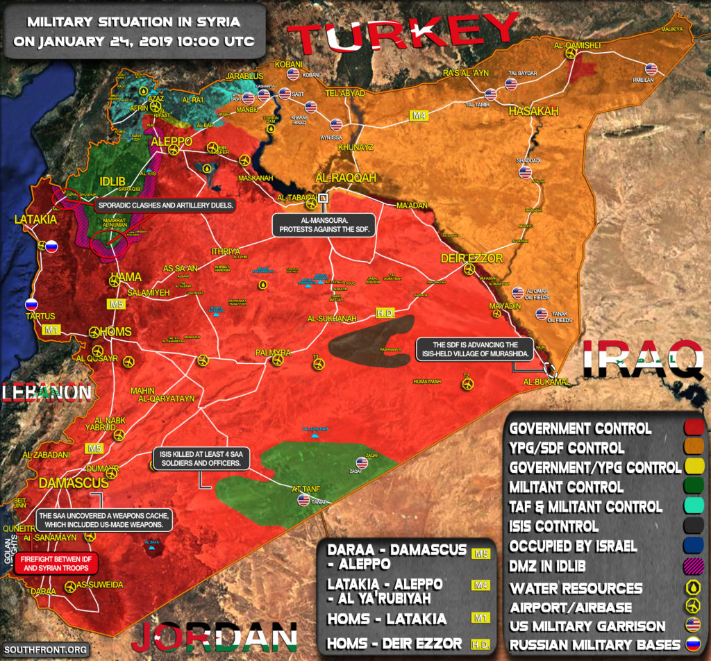 Military Situation In Syria On January 24, 2019 (Map Update