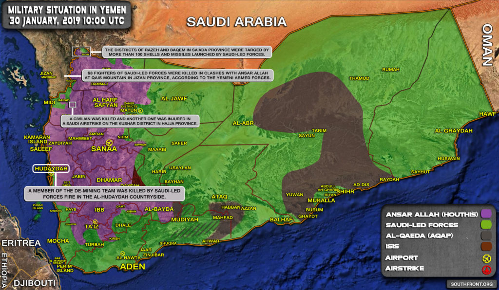 Military Situation In Yemen On January 30, 2019 (Map Update)