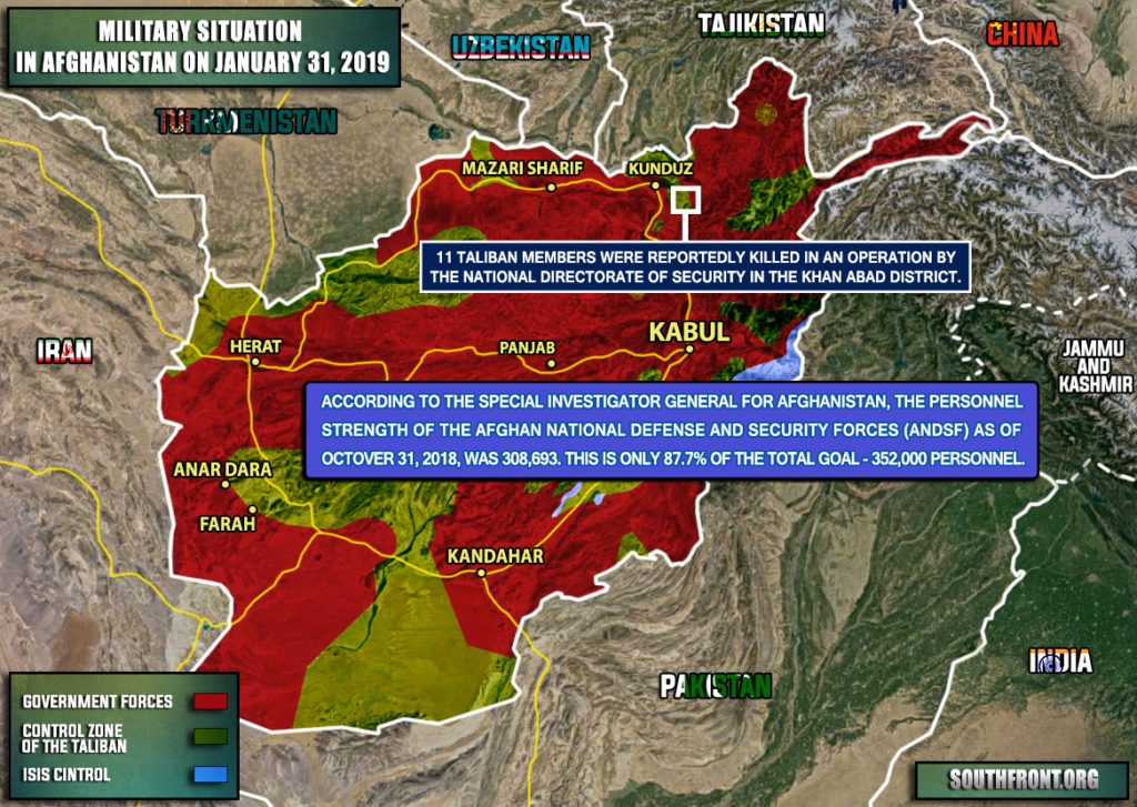 Military Situation In Afghanistan On January 31, 2019 (Map)