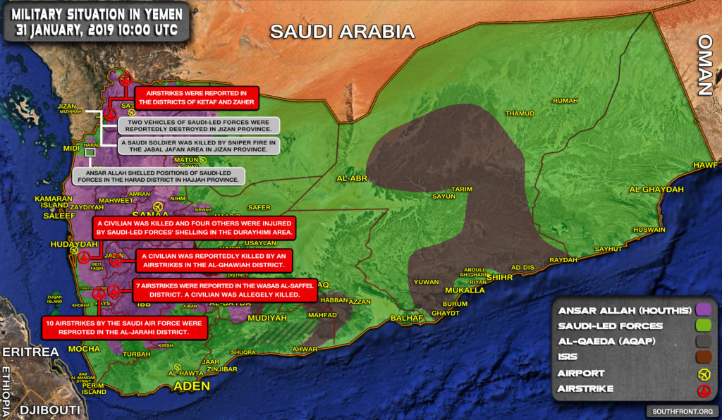 Military Situation In Yemen On January 31, 2019 (Map Update)