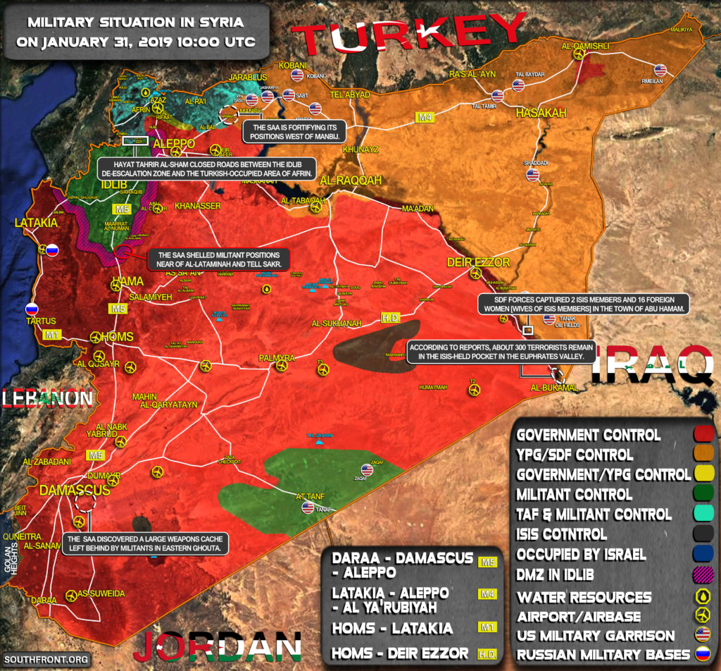 Military Situation In Syria On January 31, 2019 (Map Update)