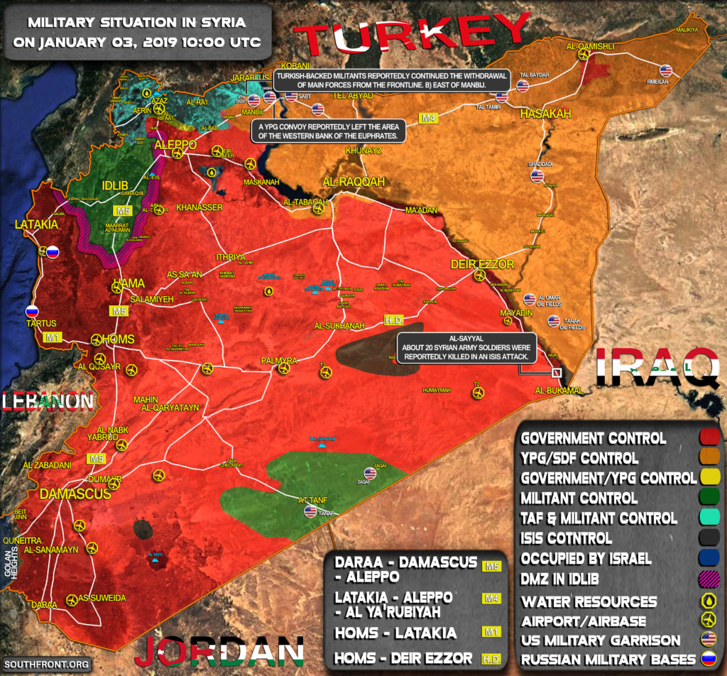Military Situation In Syria On January 3, 2019 (Map Update)
