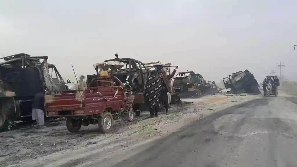 In Photos: Taliban Amubshed Large Convoy Of Government Forces Destroying Multiple Vehicles